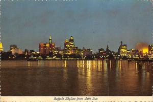 USA The Beautiful Skyline of Buffalo, New York at Night from Across Lake Erie