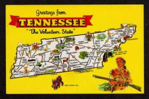 TN Greetings from TENNESSEE TENN State Map Postcard PC