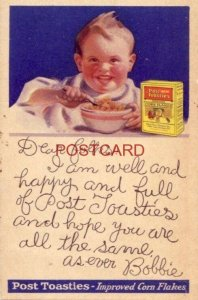 DEAR FOLKS, I AM WELL AND HAPPY AND FULL OF POST TOASTIES, BOBBIE cpyrt 1923