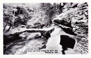 RPPC, Tunnel and Stone Bridge, Old Man's Cave, Hocking County Ohio Postcard A05