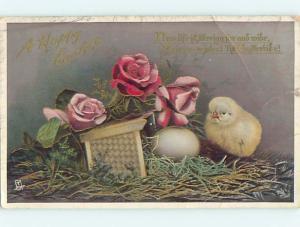 Edge Tear Divided-Back Easter Tuck CHICK & EGG & ROSE FLOWERS o6553