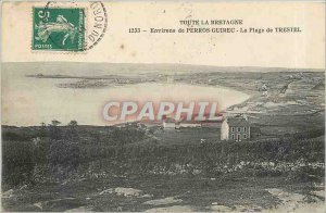 Old Postcard Around Perros Guirec The Beach of Trestel