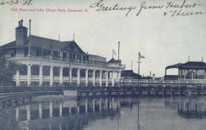 CINCINNATI, Ohio, PU-1908; Club House & Lake, Chester Park