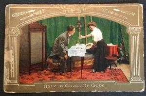 "Vintage Postcard Used No 2 Couple ""Have a chair Mr Good""  LB"