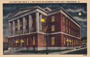 Night Time View Of U S Post Office And Government Court House Harrisonburg Vi...