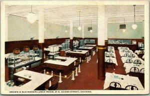1930s CHICAGO Illinois Postcard BROWN & McKINNON'S LUNCH ROOM, 21 E. Adams St.