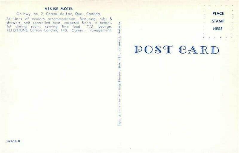 Canada, Quebec, Coteau de Lac , Venise Motel, Dexter Press No. 19509-B
