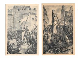 France Paris Le Pantheon Joan of Arc Taking Orleans at the Stake 2 Postcards