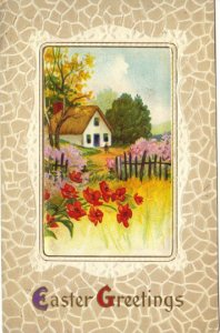 Crimson Red Poppies and Country Cottage Scene Ephemera Easter Greeting Vintage