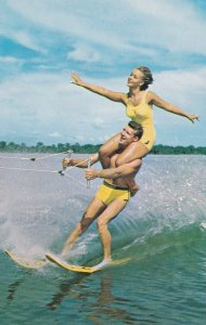 FLORIDA, 1950-1960's; The Double On Skis At High Speeds, Florida's Cypress Ga...
