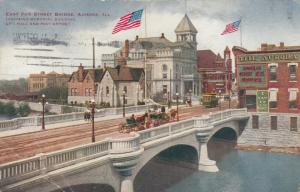 AURORA, Illinois, PU-1912; East Fox Street Bridge, Memorial Bldg., City Hall, an