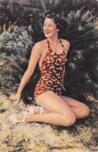 Bathing Beauty One Piece Suit Linen Antique Postcard K7876454