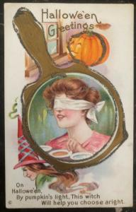 Mint Vintage USA Picture Postcard PPC  Halloween Greetings Witch Will Help You