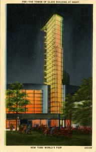 NY - 1939 New York World's Fair. Tower of Glass Building at Night