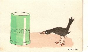 A Sweet-toothed black birdCurious vintage Spanish postcard
