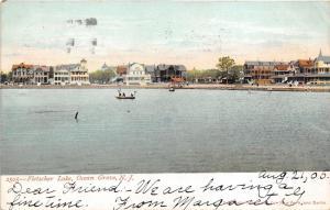 Ocean Grove New Jersey~Fletscher Lake~Boys in Boat~Pavilion & Houses Bknd~1905