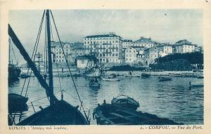 Greece Corfu view from the harbour vintage  postcard