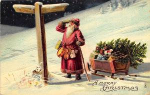 A Merry Christmas Red Suited Embossed Santa Claus Wagon Toys Tree Postcard 208