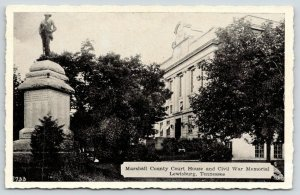 Lewisburg TN~Marshall County Courthouse ~Civil War Confederate Memorial~1940 B&W