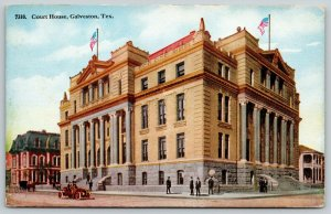 Galveston Texas~Court House Close Up~Vintage Car~Artist Drawn~Gone Now~c1910