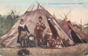 Ethnic type Postcard Laplanders traditional costumes at Lyngen fjord Norway