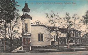 Oelwein Iowa~Baptist Church and Parsonage~Bell Tower~1912 Handcolored Postcard
