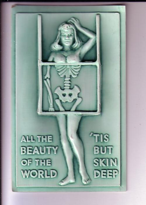 Naked Woman with Skeleton, Plastic Postcard, All Beauty of the World, Humour