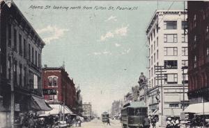 PEORIA, Illinois, PU-1912 ; Adams St. looking North from Fulton
