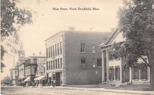 North Brookfield MA~Main Street~Batcheller House Hotel~Barber Shop~1908 B&W PC
