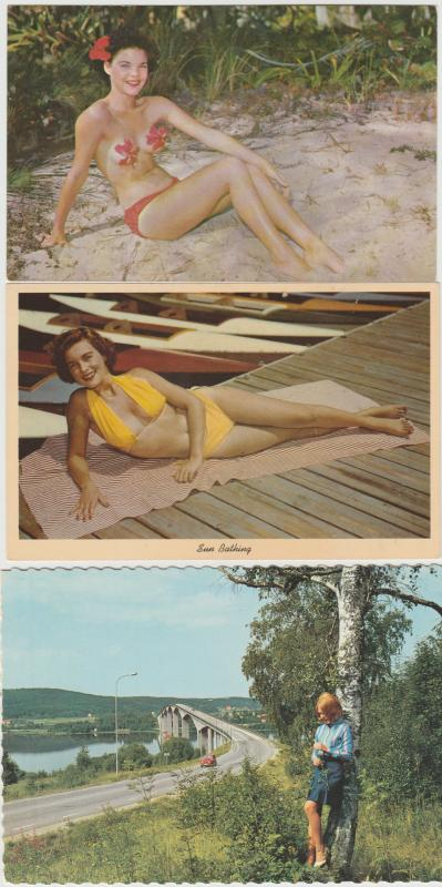 Lot of 3 pinup pretty woman women bikini blond brunette 1950s,60s Postcards