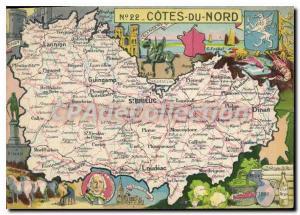 Postcard Modern Cotes Du Nord tourist map