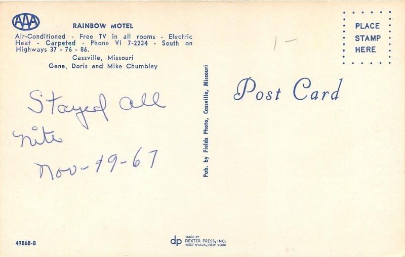 Cassville MO~Rainbow Motel~Arrow Sign~Swimming Pool Bathing Beauties~1950s PC