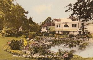 The Lake Manor Park Aldershot Hampshire With Odeon Cinema Sign Old Postcard