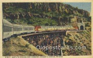 Santa Fe Streamliner, Johnsons Canyon, Arizona, AZ USA Trains, Railroads Post...