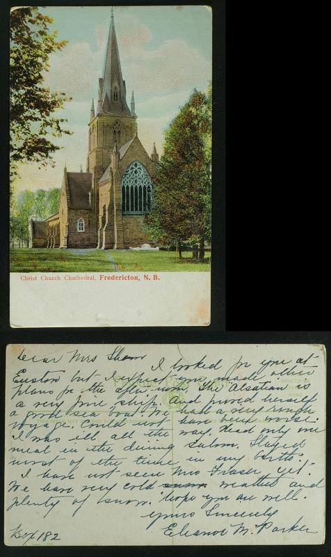 Christ Church Fredericton NB PC c 1910  Fair Condition