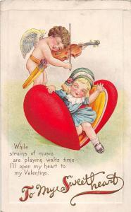 D62/ Valentine's Day Love Holiday Postcard Series 78C Violin Cupid Girl  20