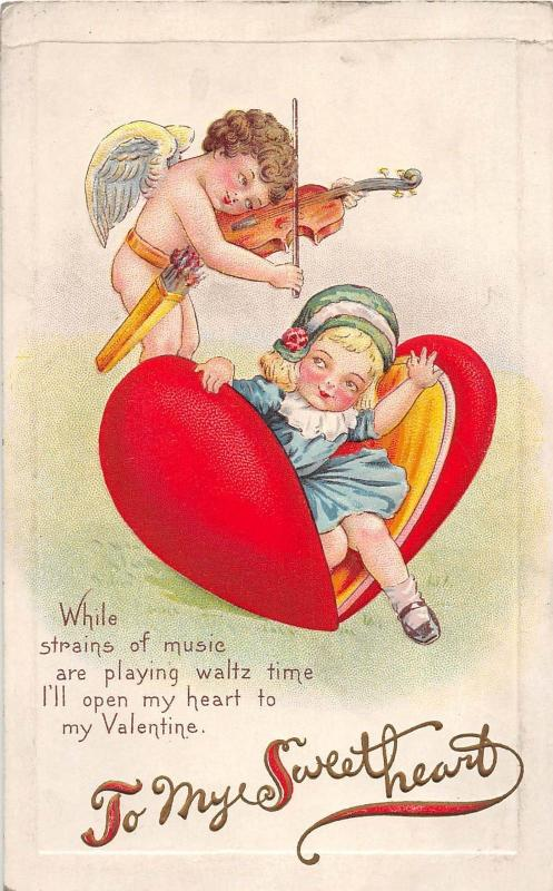 D62/ Valentine's Day Love Holiday Postcard Series 78C Violin Cupid Girl  20