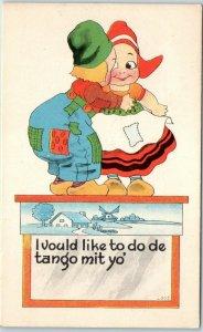 Vintage Greetings Postcard Dutch Boy & Girl I Vould Like to do de Tango mit Yo