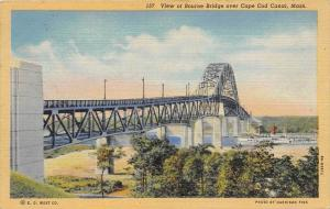 massachusetts Bourne,   Bourne Bridge over Cape Cod Canal, steamship passing ...