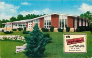 Decatur Illinois~The Redwood Restaurant~West Main~1950s Postcard