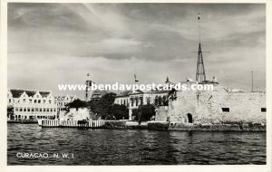 curacao, N.W.I., WILLEMSTAD, Old Fort guarding Harbor Entrance 1950s Salas RPPC