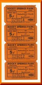 4 Rocky Springs Amusement Park Tickets, Lancaster, Pennsylvania/PA/Penn
