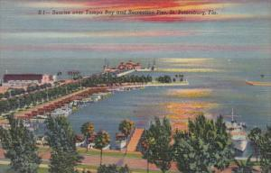 Florida St Petersburg Sunrise Over Tampa Bay and Recreation Pier Curteich
