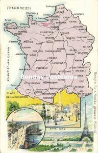 France MAP Postcard (1910s) Remy Paste Edition