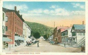Shelburne Falls, MA Bridge St Postcard, Businesses, Signs, Horses, People