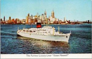 Furness Luxury Liner SS 'Ocean Monarch' Ship Boat Unused Postcard E88