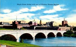 Kansas Wichita Skyline and Maple Street Bridge