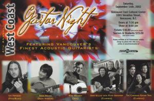 Advertisement for 4th Annual West Coast Guitar Night, Vancouver, British Colu...