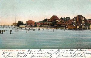 Bath Houses, Belle Isle, Detroit, Michigan 1906 Vintage Postcard