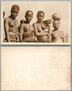 BREASTED AFRICANS REAL PHOTO RPPC TOPLESS WOMEN ANTIQUE POSTCARD